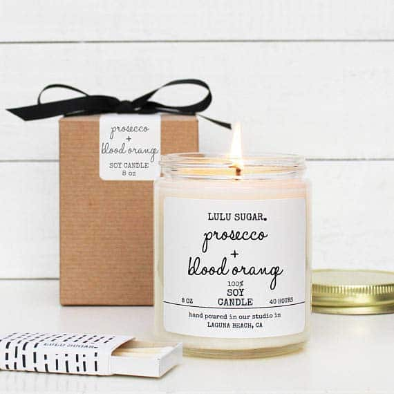 Fun Bridal Shower Gifts Prosecco Orange Candle