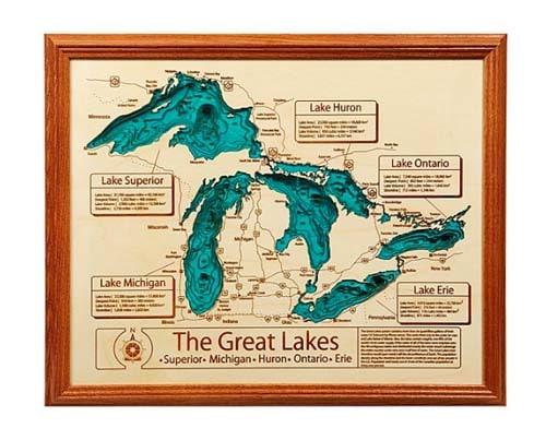 5 Year Anniversary Gift - Custom Lake Map