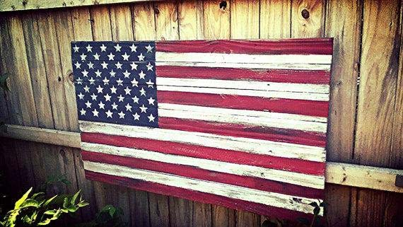 5 Year Anniversary Gift - Wooden US Flag