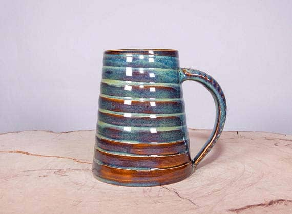 Handmade Ceramic Coffee Mugs - Forest Green Spiral