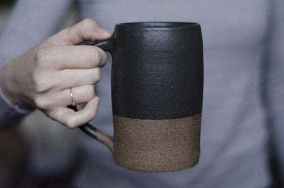 Handmade Ceramic Coffee Mugs - Black Glaze