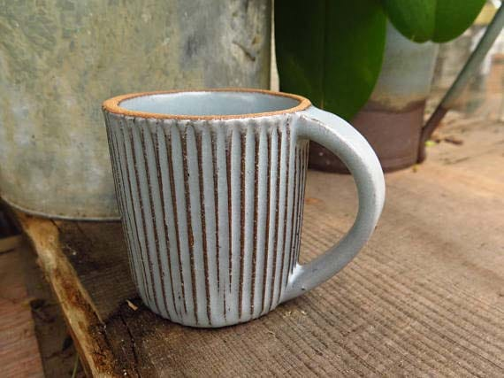 Handmade Ceramic Coffee Mugs - Fluted