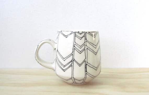 Handmade Ceramic Coffee Mugs - White Chevron