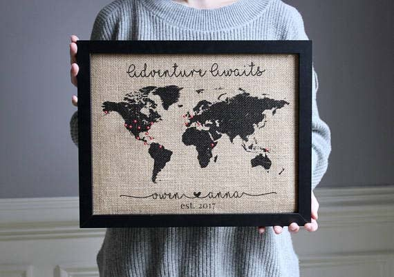 World Travel Map with Pins - Burlap Adventure