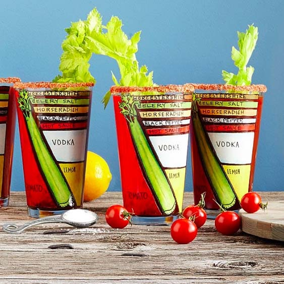 Bloody Mary Recipe Glasses
