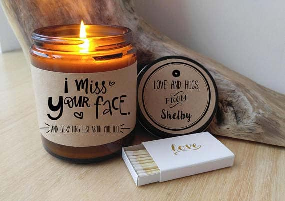 Long Distance Relationship Gifts - Custom Candle