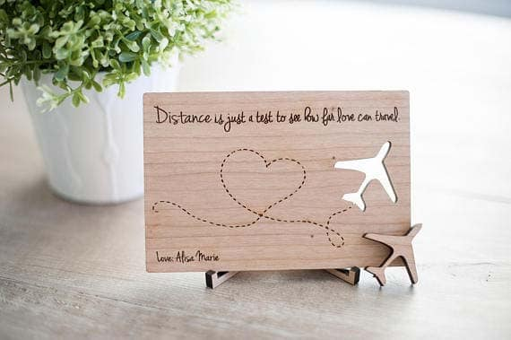 Long Distance Relationship Gifts - Wooden Postcard