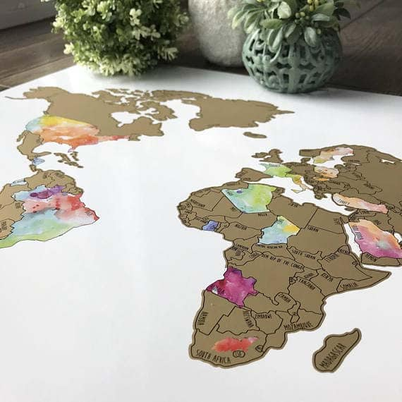The World Revealed Scratch Off Maps Youll Love - Watercolor scratch off map