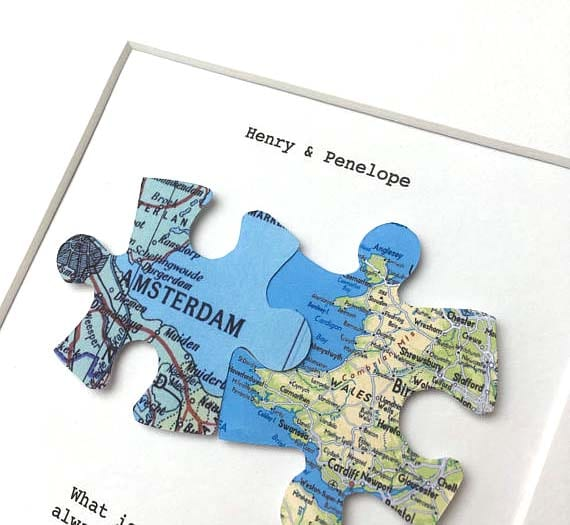 Long Distance Relationship Gifts - Puzzle Map Pieces