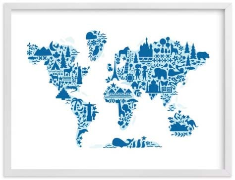 Nursery Wall Art - Little Big World Map