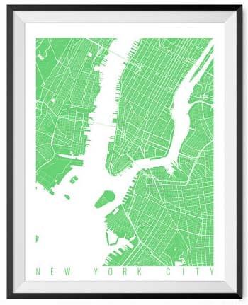 NYC Wall Art Prints - Map Spring Green
