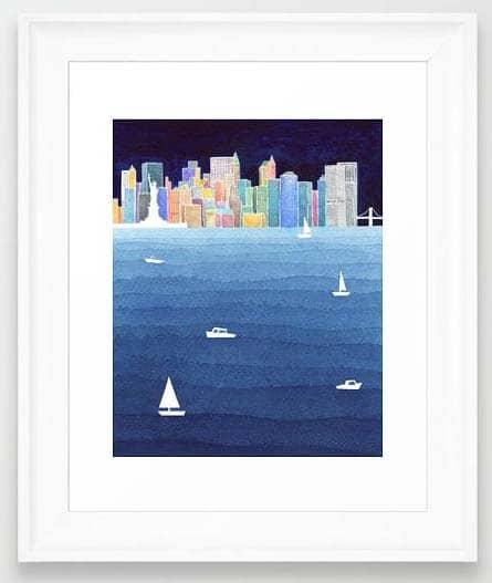 NYC Art Prints - Watercolor Skyline