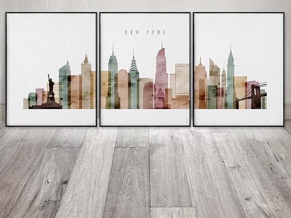 NYC Wall Art - New York Skyline Triptych