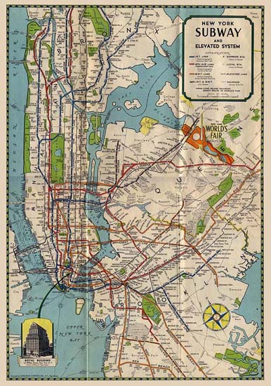 NYC Wall Art Prints   Vintage Subway Map