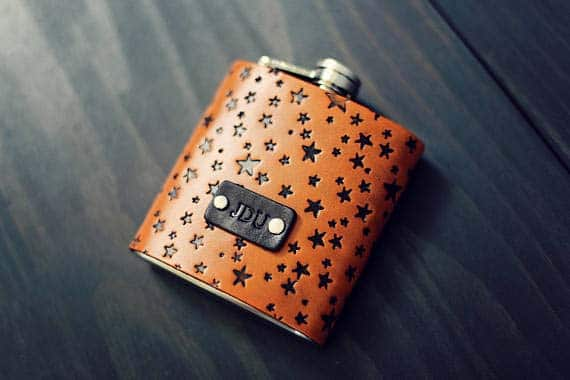 3rd Anniversary Gifts - Custom Leather Flask