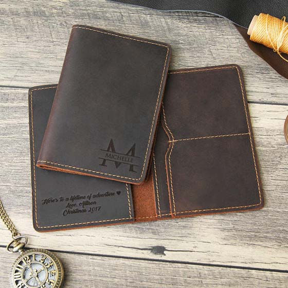 3rd Anniversary Gifts - Leather Passport Cover