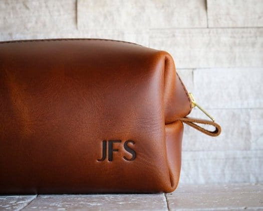 3rd Anniversary Gifts - Leather Dopp Kit