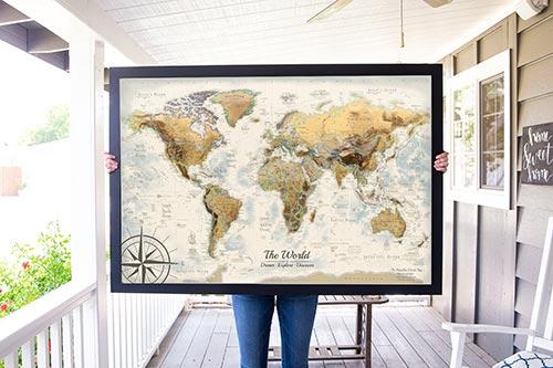 1 Year Anniversary Gifts - Push Pin Travel Maps