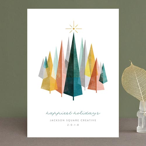 Business Holiday Cards - Woodblock Forest